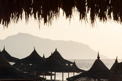Paraplyer på den Egipt stranden royaltyfria foton