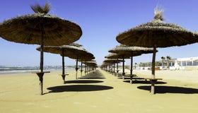 Paraplyer på en strand i Italien Arkivbild