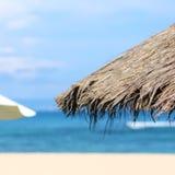 Paraplyer på stranden Arkivbilder