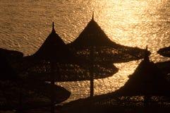 Paraplyer på stranden arkivfoton