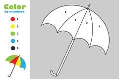 Paraplyet i tecknad filmstil, färg vid numret, leken för höstutbildningspapper för utvecklingen av barn som färgar sidan, lurar p stock illustrationer