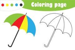 Paraplyet i tecknad filmstil, höstfärgläggningsidan, utbildningspappersleken för utvecklingen av barn, lurar förskole- aktivitet, vektor illustrationer