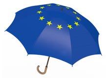 Paraplyet med flaggan av Europa isolerade på vit Arkivfoto