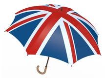 Paraplyet med flaggan av Förenade kungariket isolerade på vit Royaltyfria Foton