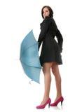 paraplykvinna Royaltyfri Foto
