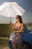 paraplykvinnabarn Royaltyfri Bild