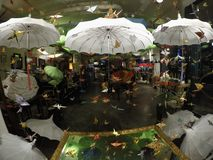 Paraplyparadis med flygorigamifåglar royaltyfri foto