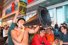 Paraplyrörelse i Hong Kong Fotografering för Bildbyråer
