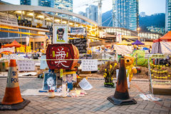 Paraplyrevolution i Hong Kong 2014 Arkivbild