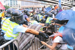 Paraplyrörelse i Hong Kong Arkivfoto