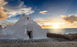 Paraportiani Church in Mykonos Town, Cyclades, Greece. During sunset Royalty Free Stock Photography