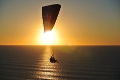 Parasailer at sunset Royalty Free Stock Photo