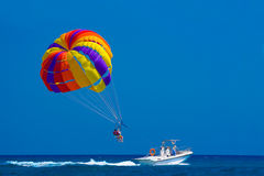 Parasailing. Off the coast in Kolymbia, Rhodes, Greece Royalty Free Stock Photography