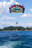 Parasailing adventure on the lake. Coeur d' Alene, Idaho - August 12: Exiting summer parasailing adventure in lake Coeur d' Alene. August 12 2016, Coeur d' Alene Royalty Free Stock Images