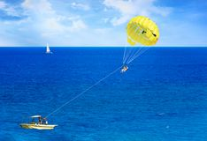 Parasailing in Aegean Sea in city of Rhodes Rhodes, Greece stock photo