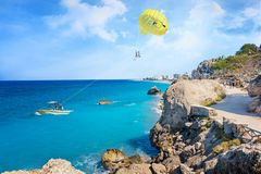 Parasailing in Aegean Sea in city of Rhodes Rhodes, Greece stock photography