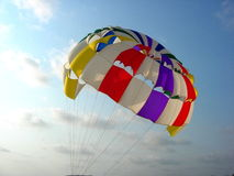 Parasailing Balloon-II. Colorful para sailing balloon floats high in the sky Royalty Free Stock Images