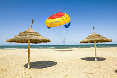 Parasailing on the beach of the Mediterranean in Tunisia Royalty Free Stock Photo