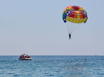 Parasailing in a blue sky Stock Photography