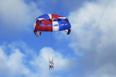 Parasailing in a blue sky in Punta Cana, Dominican Republic Royalty Free Stock Photography