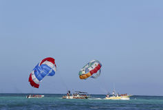Parasailing in a blue sky in Punta Cana, Dominican Republic Royalty Free Stock Photo