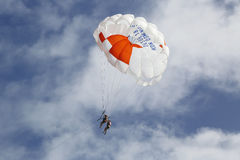 Parasailing in a blue sky in Punta Cana, Dominican Republic Stock Image