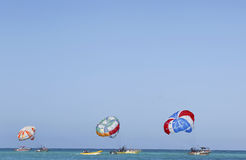 Parasailing in a blue sky in Punta Cana, Dominican Republic Stock Photos