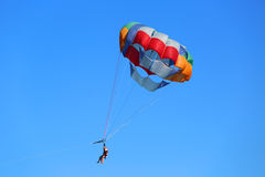 Parasailing in a blue sky in Punta Cana, Dominican Republic Royalty Free Stock Images