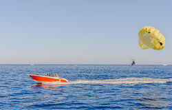 Parasailing on a calm blue ocean Stock Image
