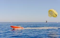 Parasailing on a calm blue ocean Stock Image