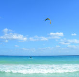 Parasailing in the Caribbeans. At a resort in Riviera Maya, Cancun, Mexico Stock Photo