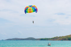 Parasailing. Color full Parasailing in the sky Royalty Free Stock Images