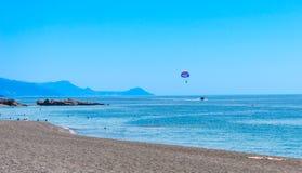 Parasailing at crete greece stock photos
