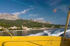 Parasailing in Croatia. View from the boat stock photos