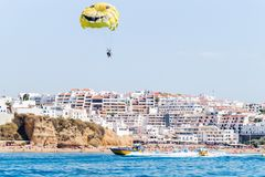 Inside view of the Parasailing experience with speed boat and boat tour experiences in Albufeira, Algarve PortugalBenagil Sea Cave Stock Images