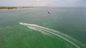 Parasailing in the Florida Keys aerial video Stock Image