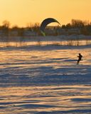 Parasailing on a frozen northern lake Stock Images