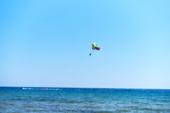 Parasailing at Issos beach in Corfu, Greece. Stock Photography