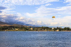 Parasailing in Issyk Kul lake in Kyrgyzstan Royalty Free Stock Photography