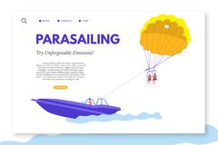Parasailing landing page template with text space vector illustration