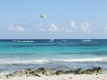 Parasailing on Mayan Riviera. Daily parasailing off Mayan beach Stock Photography