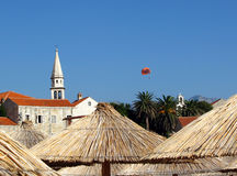 Parasailing near old city in Budva, Montenegro Stock Images