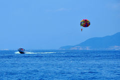 Parasailing in Nha Trang city, Vietnam. Stock Images