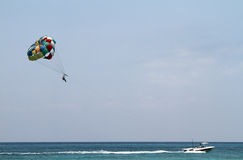 Parasailing on the ocean in Cozumel Mexico Stock Photo