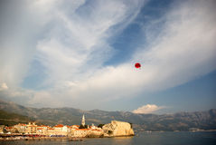 Parasailing over Budva Stock Image