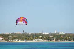 Parasailing over the Caribbean sea Royalty Free Stock Photos