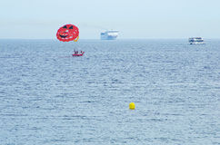 Parasailing over the mediterranean sea Stock Photography