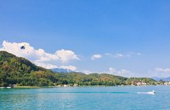 Parasailing over .Worthersee. Austria Stock Image