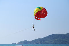 Parasailing at Patong Beach in Phuket Royalty Free Stock Photos