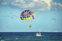 Parasailing. Playa del Carmen beach in Mexico Stock Image